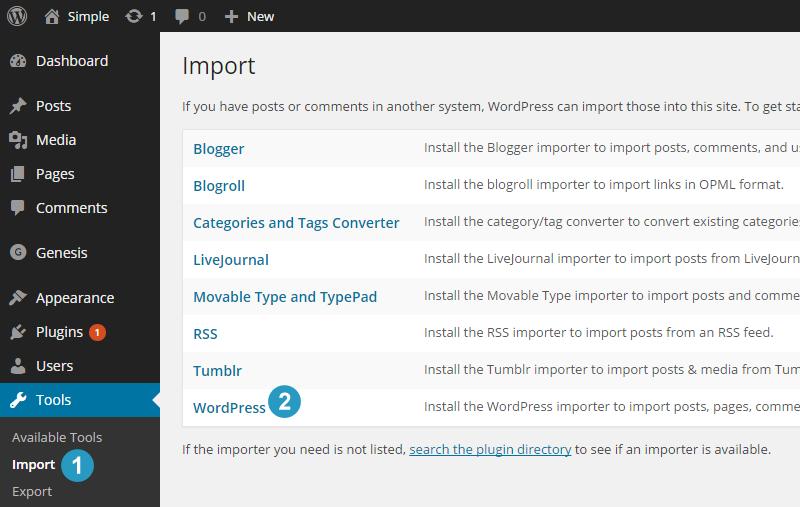 Installing WordPress Importer