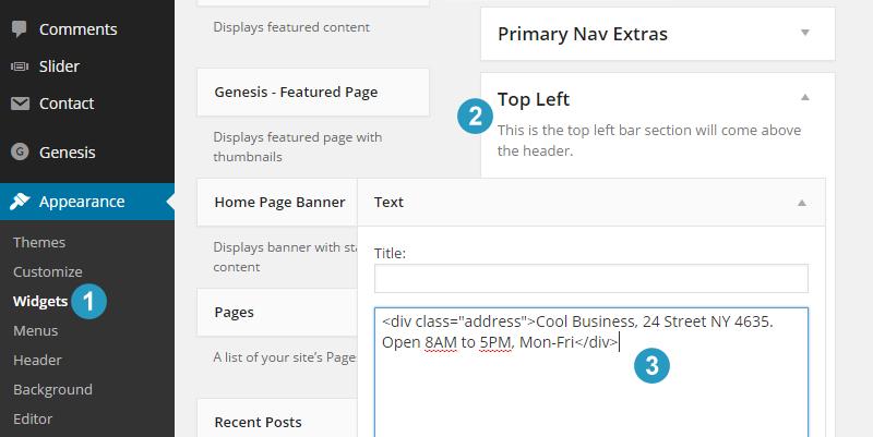 Flex theme top left widget area