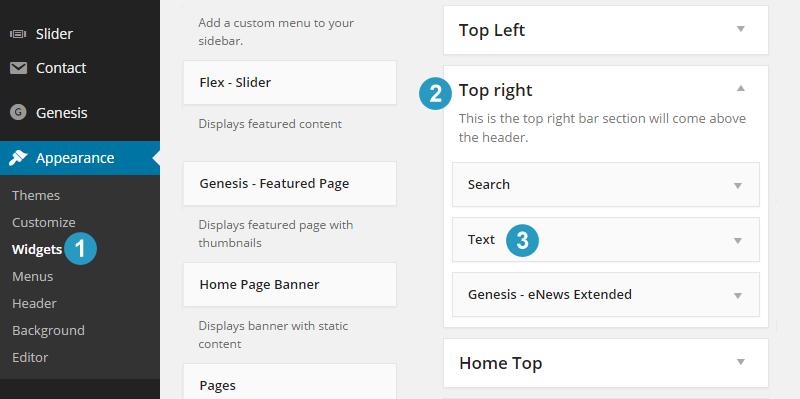 Adding widgets to top right in flex theme