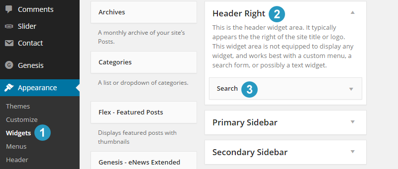 Add Header Right widget area to flex theme